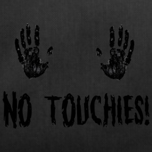 No Touchies in Black 2 Hands Above Text - Duffel Bag