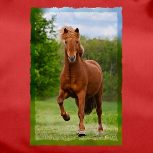 Icelandic horse running in tölt over meadow horse photo - Duffel Bag