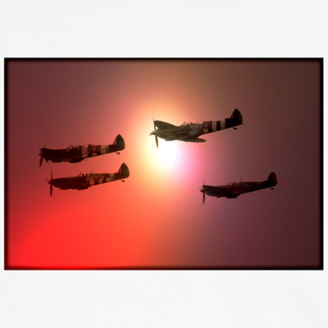 4 Spitfires in setting sun