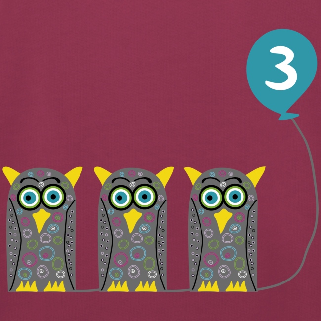 Drei süße Eulen mit Luftballon zum 3. Geburstag!