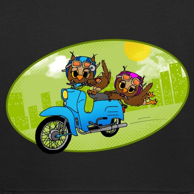 Eulen mit Moped - grün