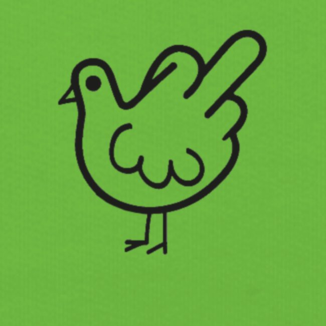 Huhn mit Mittelfinger