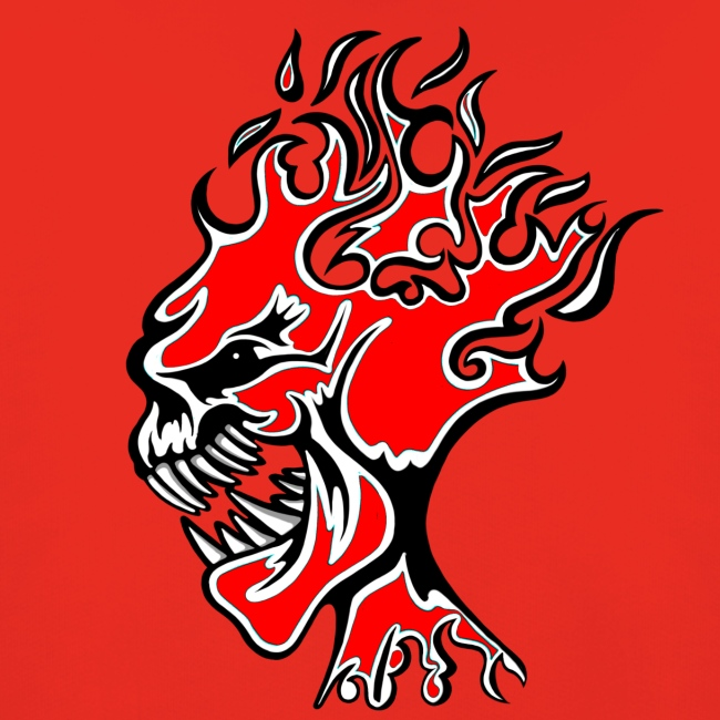 Flaming Demon Head Red
