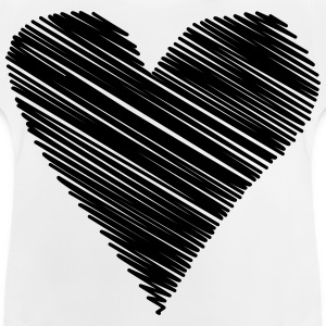 heart scribble black drawing minimal love - Baby T-Shirt