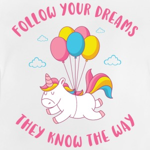 Flying Unicorn - Följ dina drömmar - Baby-T-shirt
