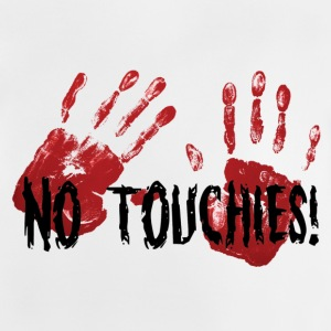 Ingen Touchies 2 Bloody Hands Behind Black Text - Baby-T-skjorte