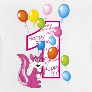 Pink squirrel birthday one year - Baby T-Shirt
