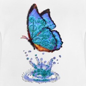 butterfly, blue, water, drops, reflection, butterfly - Baby T-Shirt