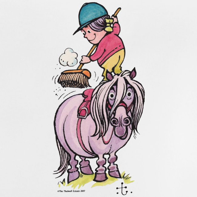 Thelwell Rider Cleaning Their Horse