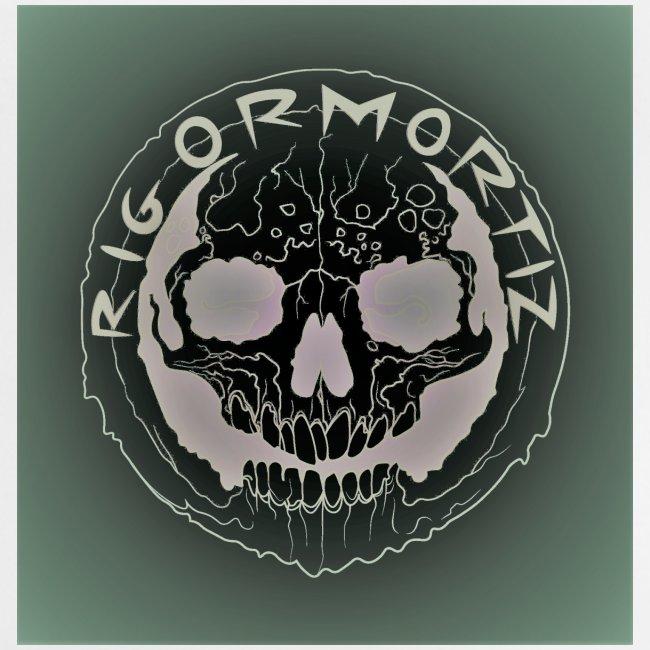 Rigormortiz Dark Solid Background Logo Design