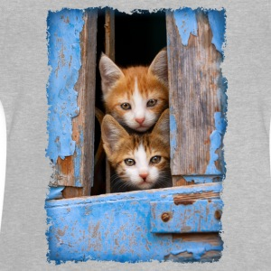 Curious kittens looking out a blue window - Baby T-Shirt
