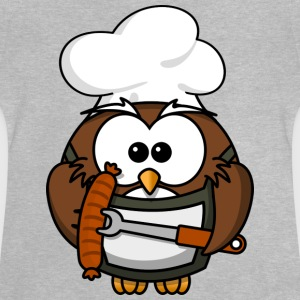 Owl on grill with food comic style - Baby T-Shirt