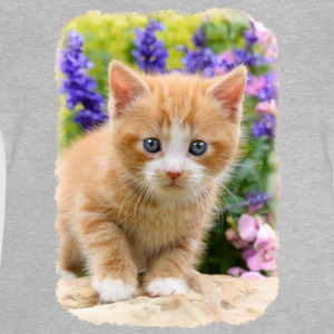 Cute dear kitten in flowering garden - Baby T-Shirt