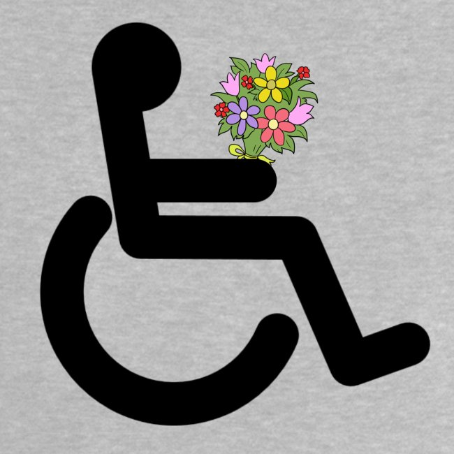 Rolstoel gebruiker met bloemen