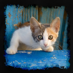 Sweet young kitten looking out of old blue door - Baby T-Shirt