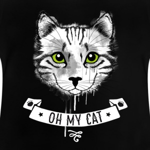 Cat oh_my_cat green eyes face white striped - Baby T-Shirt