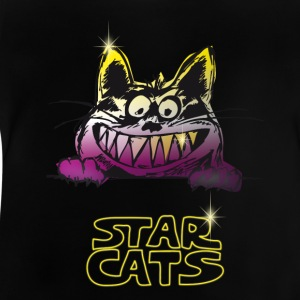 cat grim star cats pink teeth grinning - Baby T-Shirt