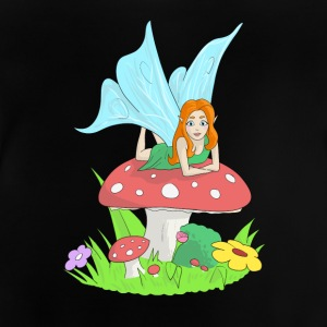 Fairy, elf lying on a fly's mushroom - Baby T-Shirt