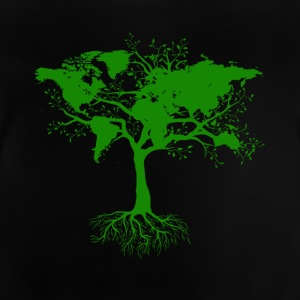 Tree with world maps green - Baby T-Shirt