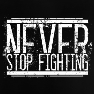 Aldrig Stop Fighting Old White 001 runde design - Baby T-shirt