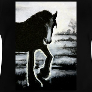 horse Haflinger painting backlit black ra - Baby T-Shirt