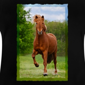 Icelandic horse running in tölt over meadow horse photo - Baby T-Shirt
