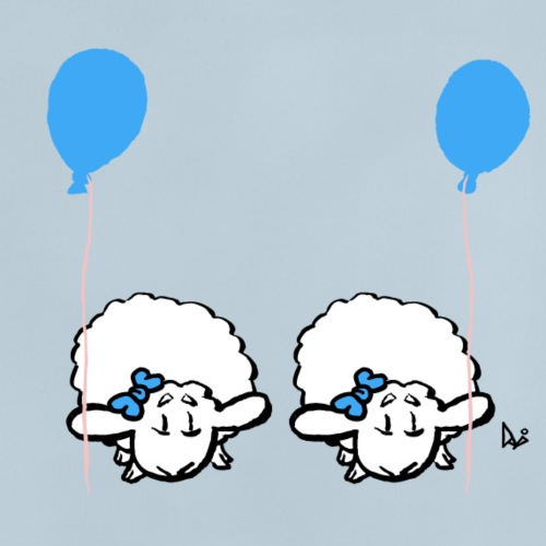 Baby Lamb Twins with balloon (blue & blue) - Baby T-Shirt