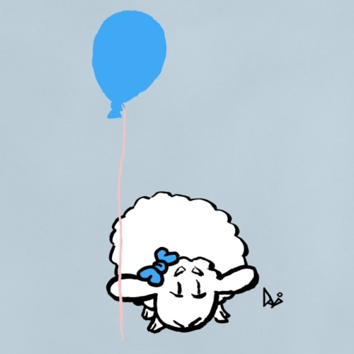 Corderito con globo (azul) - Camiseta bebé
