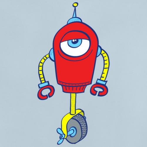 Robot with one eye, on one wheel, apathetic mood - Baby T-Shirt