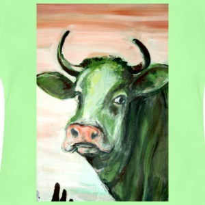 green cow portrait acrylic painting expressionistic - Baby T-Shirt
