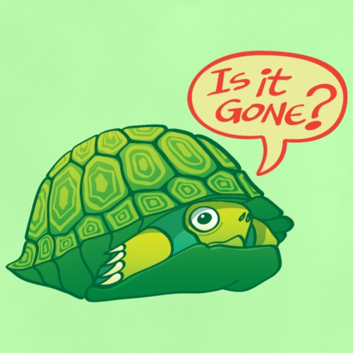 Green turtle asks if can come out of shell - Baby T-Shirt