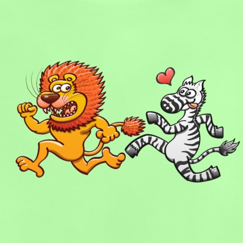 Mad zebra in love runs after a frightened lion - Baby T-Shirt