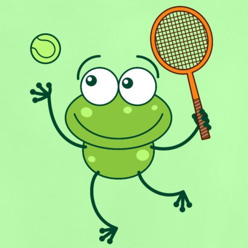 Green frog ready to serve at tennis match - Baby T-Shirt