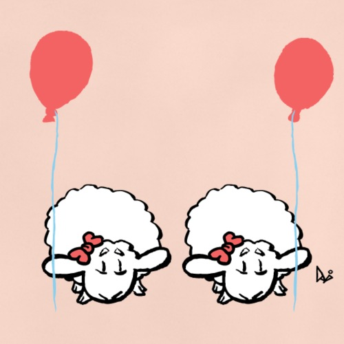 Baby Lamb Twins med ballong (rosa og rosa) - Baby-T-skjorte