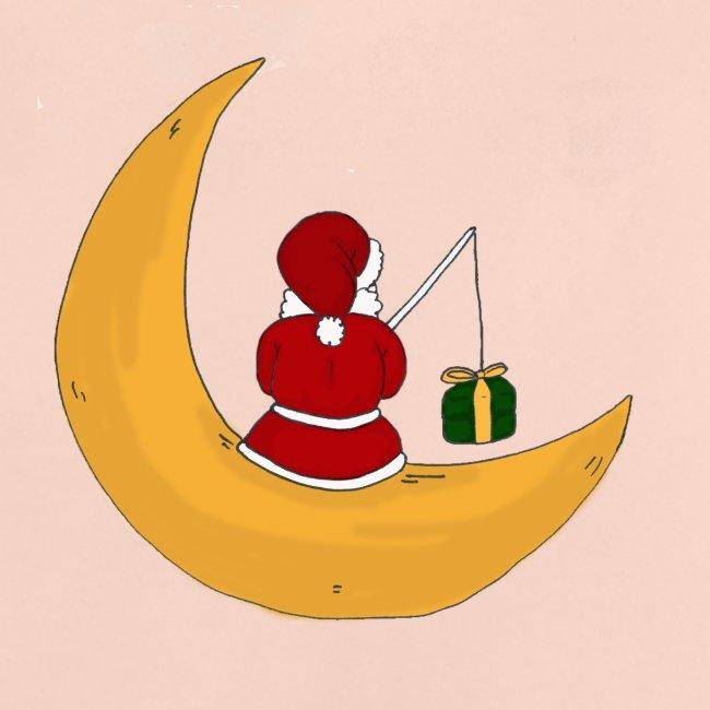 Santa sur un croissant de lune