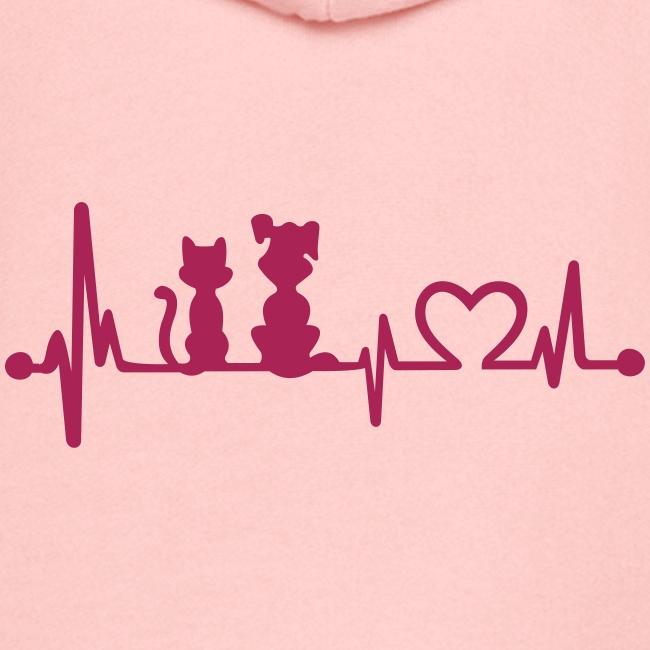 Vorschau: dog cat heartbeat - Kinder Premium Kapuzenjacke