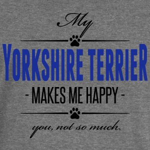 My Yorkshire Terrier makes me happy - Women's Boat Neck Long Sleeve Top