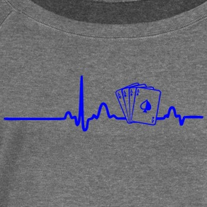 ECG HEART LINE POKER PLAYER blue - Women's Boat Neck Long Sleeve Top