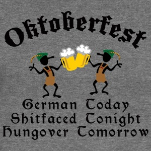 Funny Oktoberfest Drinking Beer Drunk Hungover - Women's Boat Neck Long Sleeve Top