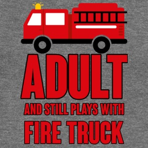 Fire Department: Adult and still plays with fire truck - Women's Boat Neck Long Sleeve Top