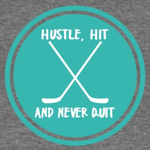 Hockey: Hustle, Hit and never quit. - Women's Boat Neck Long Sleeve Top