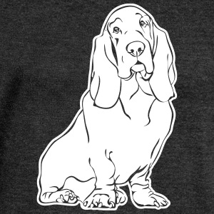 BASSET HOUND sitting - Women's Boat Neck Long Sleeve Top