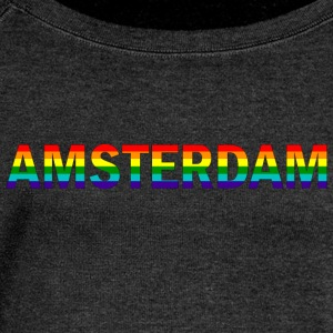 Amsterdam in rainbow colors - Women's Boat Neck Long Sleeve Top