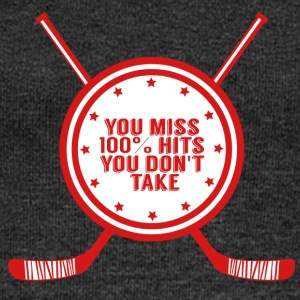 Hockey: You miss 100% hits you don't take - Women's Boat Neck Long Sleeve Top