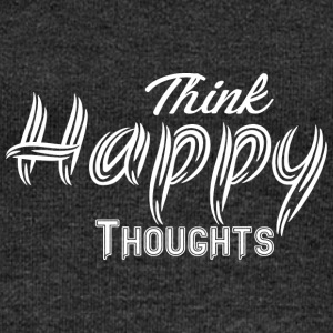 THINK HAPPY THOUGHTS white - Women's Boat Neck Long Sleeve Top