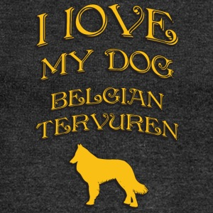 I LOVE MY DOG Belgian Tervuren - Women's Boat Neck Long Sleeve Top