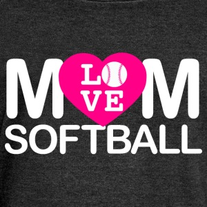Mom love softball - Women's Boat Neck Long Sleeve Top