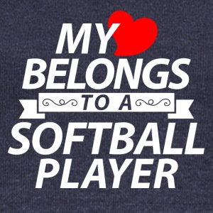 My heart belongs to a softball player - Women's Boat Neck Long Sleeve Top