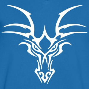 Tribal Dragon Head - T-shirt med v-ringning herr