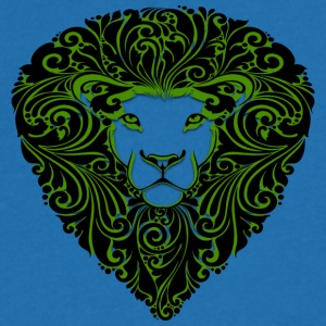 lion with ornament hairs black green - Men's V-Neck T-Shirt
